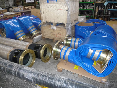 Water suction delivery hose Couplings flange tails fitting fire fighting Large Layflat reel Aluminium Spool Piece Coupling Fracking emergency